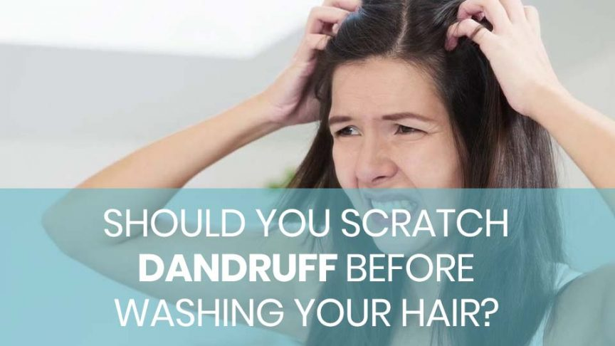 Woman scratching hair