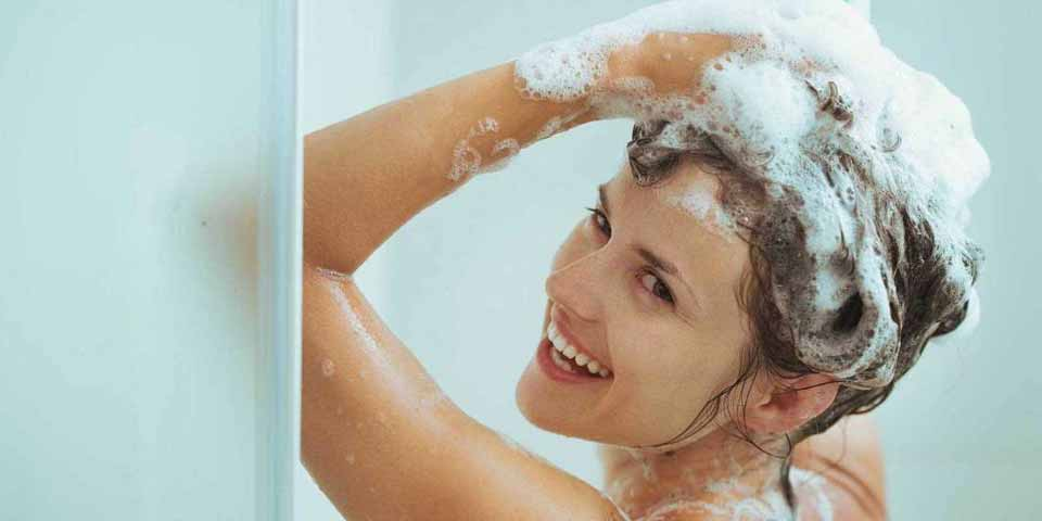 A woman who is showering